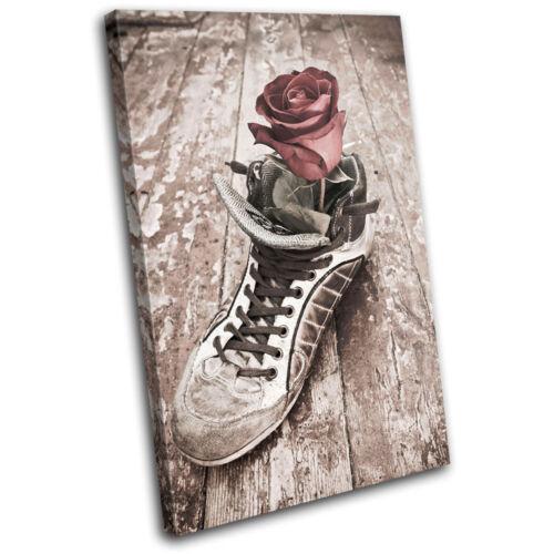 Rose Shoe Love Vintage SINGLE CANVAS WALL ART Picture Print VA