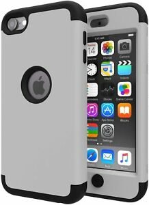 For iPod Touch 5th 6th 7th Gen - Hard Hybrid Armor Nonslip Case Cover Gray Black