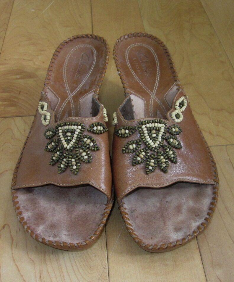 Clarks Wms Tan /Lt 7.5 Brown Leather Slide Sandals 7.5 /Lt 7a988d