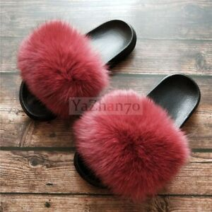 Real Fur Women Fuzzy Furry Slippers
