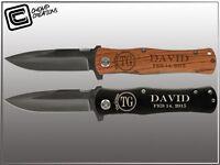 Groomsmen Gifts - 2 Engraved Folding Pocket Knives - Personalized Custom Wedding