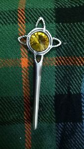 Scottish Kilt Pin Antique Finish Various Stone Highland Pins Brooch Celtic Knot