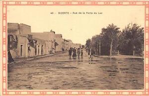 CPA-TUNISIE-BIZERTE-RUE-DE-LA-PORTE-DU-LAC