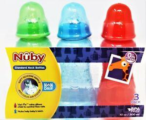 3 Nuby Standard Neck Bottles Silicone Nipple BPA Free 0+ Vari-Flo 10 oz NEW #3A