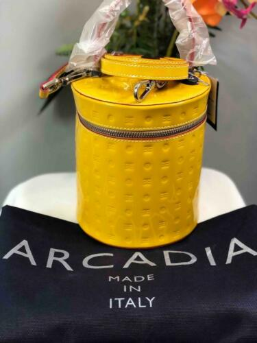 Details about  /NWT ARCADIA Italy Canary Yellow Patent SV Leather Large Wristlet//Clutch #1596
