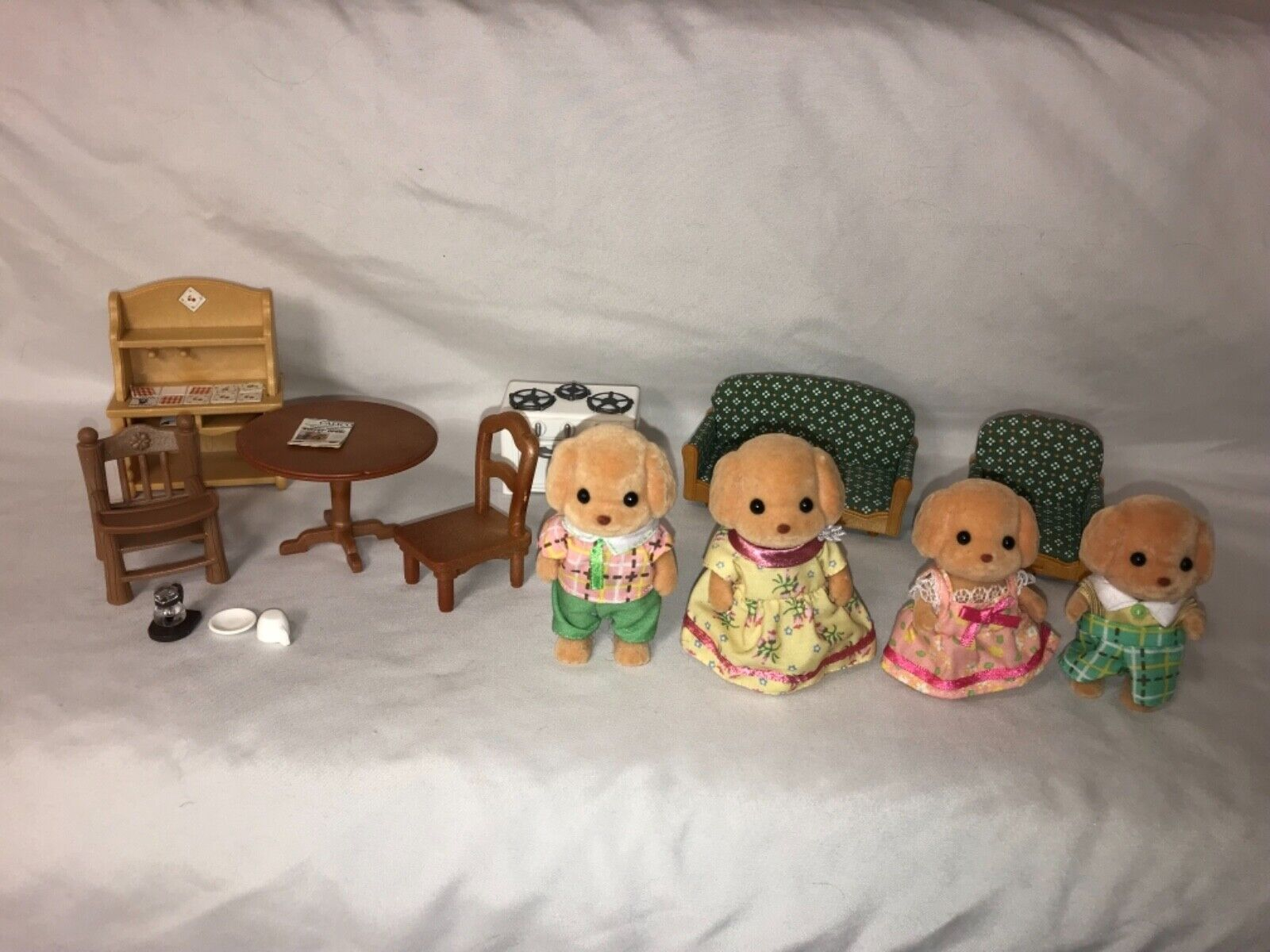 Calico Critters Toy Poodle Family With Furniture and Accessories Lot