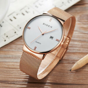 BIDEN-Luxury-Men-Women-Waterproof-Mesh-Stainless-Steel-Quartz-Wrist-Watch-Date