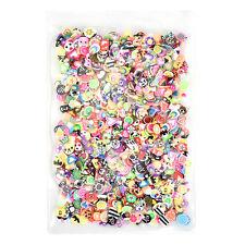 1000pcs DIY Mixed Theme Fimo Slice Clay Nail Art Tips Fruit Animals Decoration