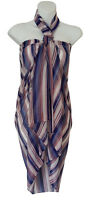 Red White Blue Striped Sarong Pareo Scarf Wrap Swimsuit Cover Shawl Beachwear 41