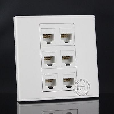 Wall Socket Plate 6 Ports Rj45 Network Lan Cat5e Panel