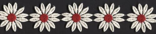 "2/"" IVORY RED DAISY FLOWER VENICE VENISE LACE APPLIQUE FABRIC TRIM 5 YARDS"