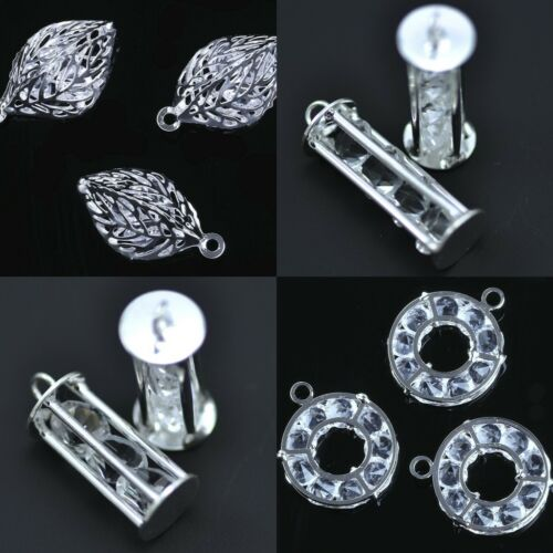 5x Caged Captured Clear Crystal Silver Plated Charm Pendants Jewellery Making