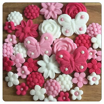 36 EDIBLE FLOWERS BUTTERFLIES Pink  Cake Cupcake Toppers Decorations Wedding