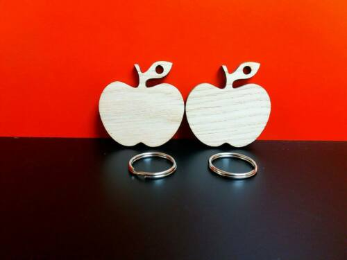 Oak veneer Apple keyrings packs of 5 10 or 15  5.5cm x 5cm complete with ring