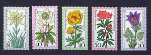 ALEMANIA-RFA-WEST-GERMANY-1975-MNH-SC-B521-B525-Alpine-flowers