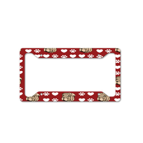 Shar Pei Dog Red Paw Heart Auto Car License Plate Frame Tag Holder 4 Hole