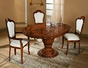Image Is Loading Elizabeth Italian WALNUT Radica Dining Table Amp 4