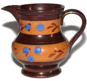 Staffordshire-Copper-Lustre-19-C-Antique-Blue-Toffee-Brown-Enamel-Small-Pitcher