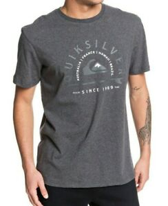 QUIKSILVER-MENS-T-SHIRT-LOST-SUN-CHARCOAL-GREY-COTTON-SHORT-SLEEVED-TOP-9W-99KT