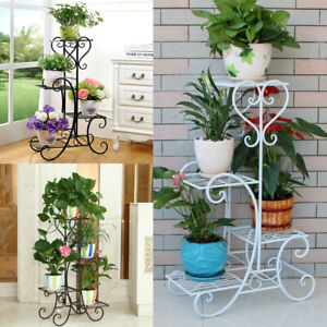 Style-Vintage-4-Tier-Metal-Plant-Stand-Holder-Flower-Pot-Home-Display-Shelf-Rack