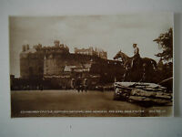 Edinburgh Castle Scottish National War Memorial & Earl Haig Statue Real Photo PC