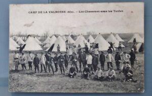 CPA-CAMP-de-LA-VALBONNE-01-Les-Chasseurs-sous-les-Tentes-ANIMEE