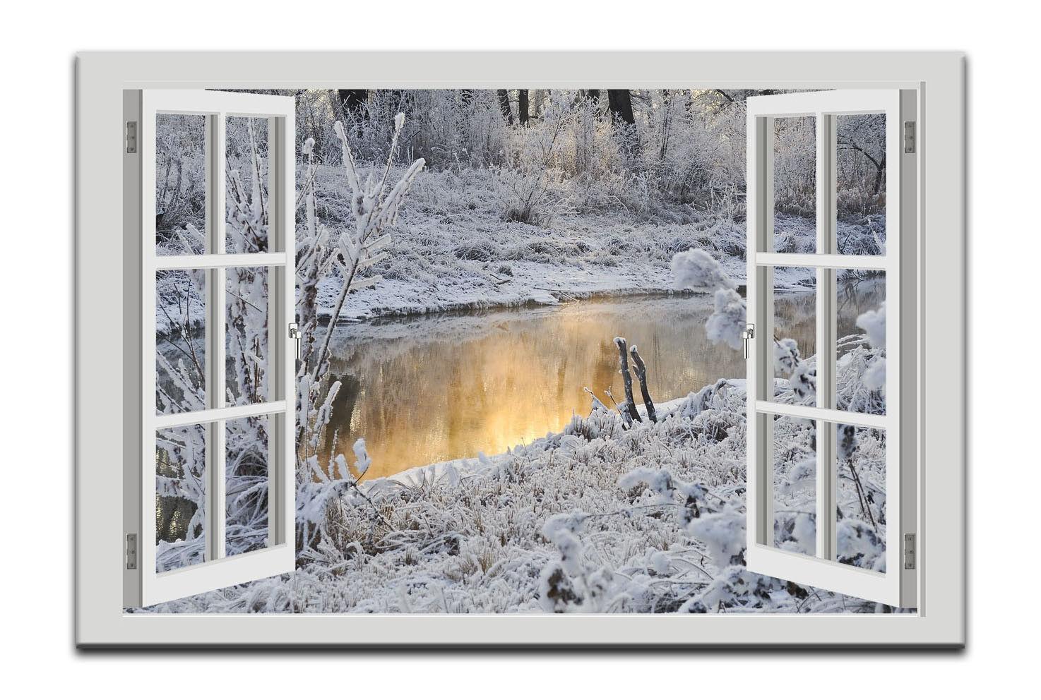 Toile Arbres la fresque Fenêtre Vue Hiver Neige Eau Arbres Toile Paysage Hiver 94a4a4