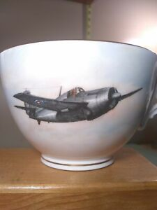 Royal-Worcester-Bone-China-Signed-Ex-Large-Aviation-Coffee-Mug-Cup-gold-trimmed