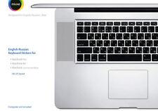 English Russian Black Keyboard Stickers | Mac | GLARE-FREE VINYL Stickers!