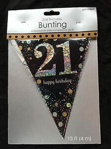 Image Is Loading 21st Birthday Pennant Flag Banner Black Silver Gold