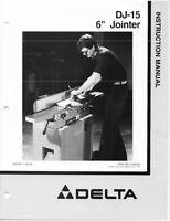 Delta Dj-15 6 Jointer Instruction Manual