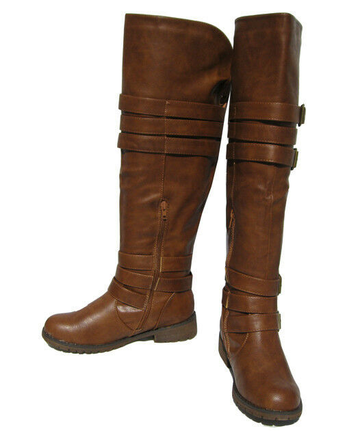 New Women's Riding Boots Tan Over the size Knee Shoes Winter Snow Ladies size the 6 383009