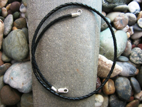 USA black Pure Sterling Silver Braided Bolo Leather Cord Necklace mens
