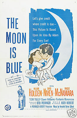 The moon is blue William Holden vintage movie poster