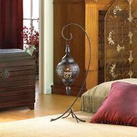 Hanging Black Moroccan Pendant Lantern Swag Candle Holder Lamp & 25 Floor Stand
