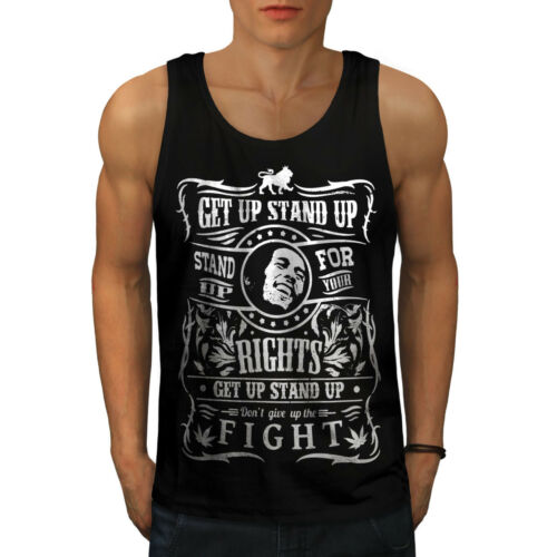 Stand Fight Active Sports Shirt Wellcoda Bob Marley Quote Mens Tank Top