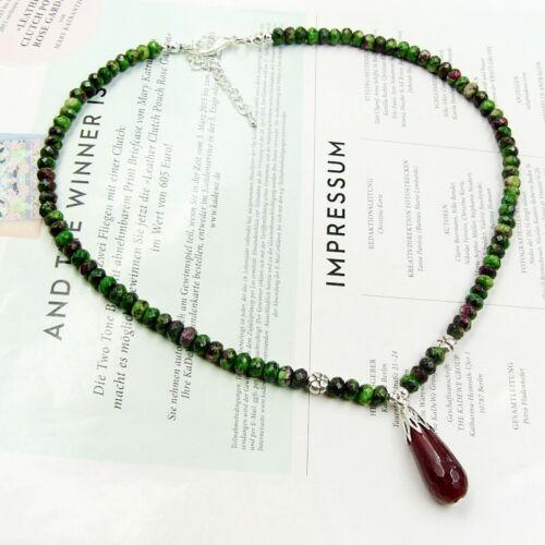 BAILYSBEADS fabelhafte Rubin-Zoisit Kette Halskette mit Rubin Anhänger neu P765