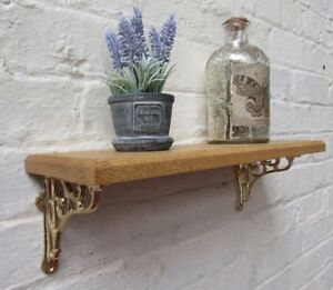 SOLID-OAK-WOOD-HANDMADE-SHELVES-rustic-wooden-Shelf-cast-iron-shelf-brackets