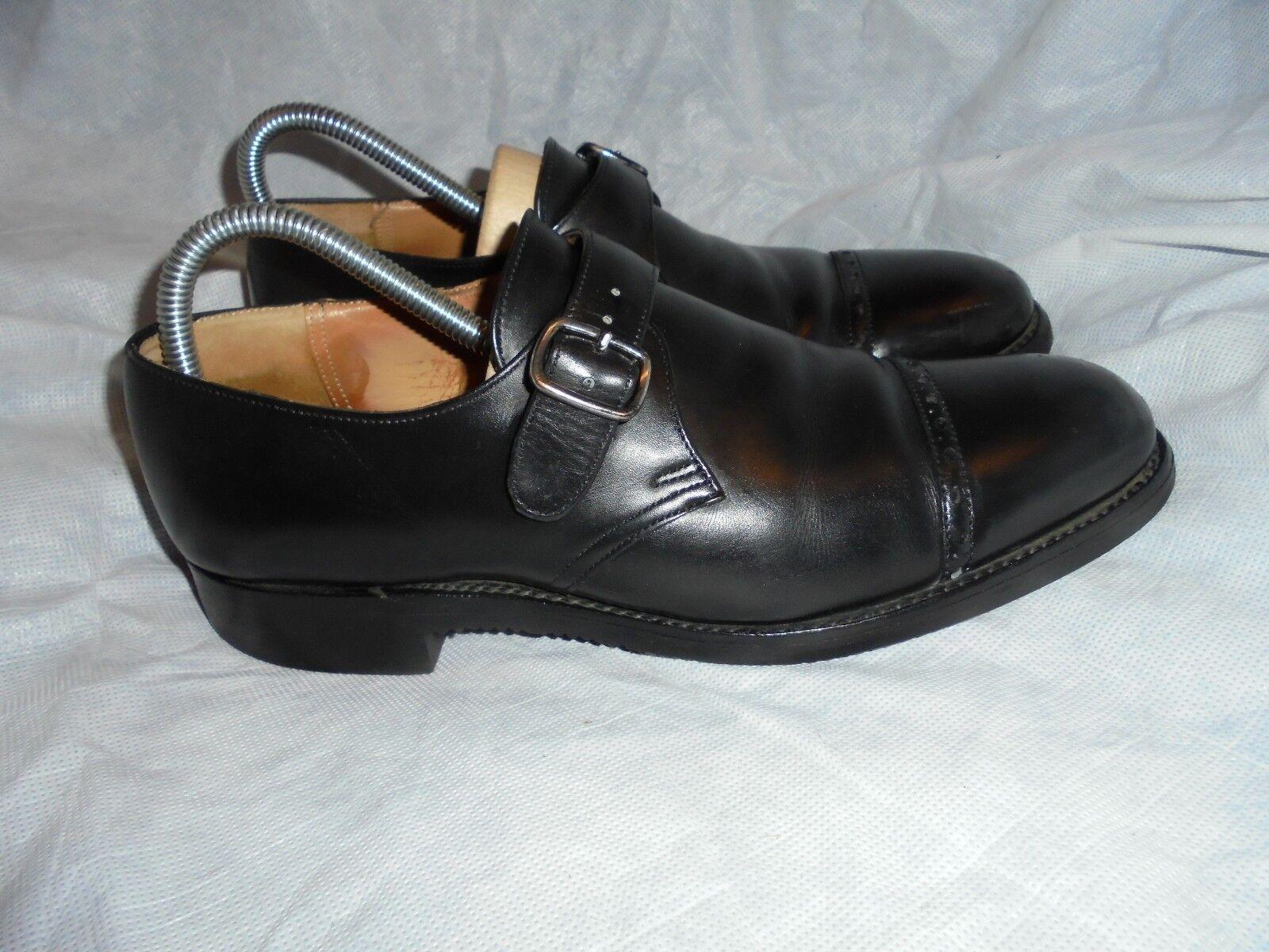 new arrival a0b17 eccf9 Église en en en cuir noir un moine Boucle Chaussures Taille très bon état  e4a2b3