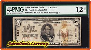 JC&C - Only Type 2 Known - 1929 $5 NB of Middletown , Ohio #2025 - PMG F 12 NET