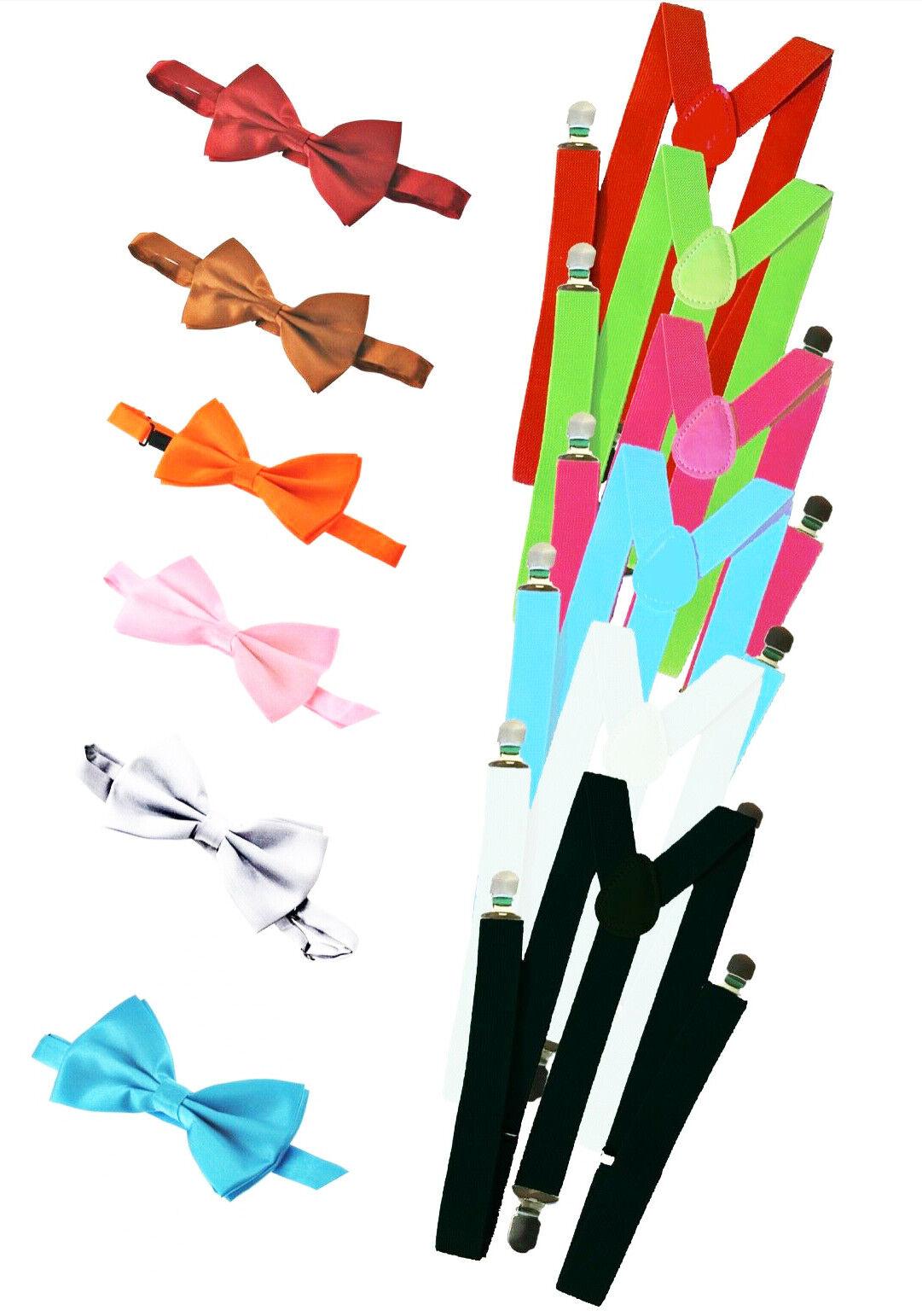 Hosenträger Jeans -Y Form 25mm 3 Clips Herren Damen Fliege Set Suspender Bow b4