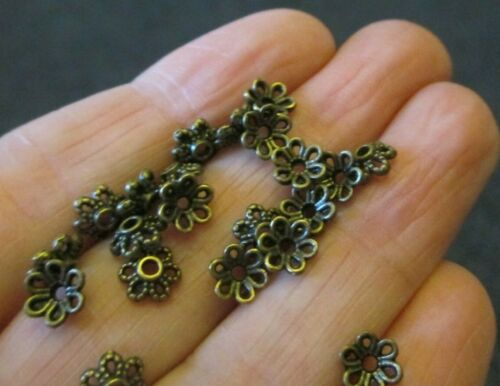 Pack of 50 Antique Bronze Flower Bead Caps 6mm Jewellery Findings Bead Ends