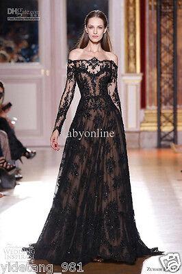 New Arrived Murad Long Sleeves Prom Dresses Lace Black Evening Dresses Celebrity