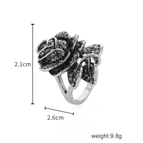 Fashion Vintage Black Rose Flower Ring Women/'s Ring Crystal Rhinestone Jewelry
