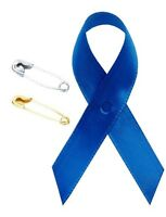 Blue Colon Cancer Awareness Satin Ribbon W Safety Pin Choose Lot Of Quantity