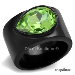 WOMEN-039-S-PERIDOT-CZ-BLACK-STAINLESS-STEEL-WIDE-BAND-FASHION-RING-SIZE-5-10