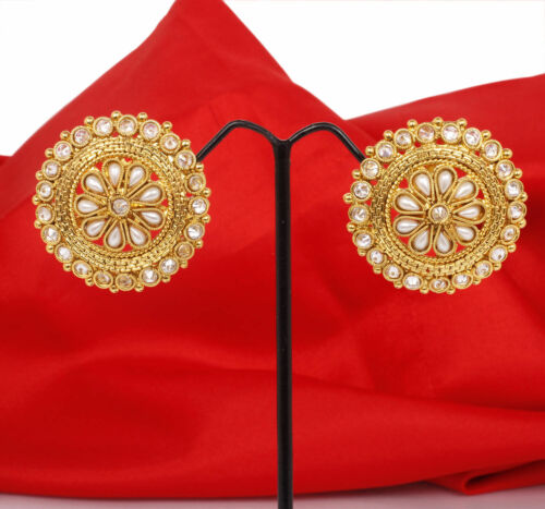 New Indian Bollywood Gold plated Pearl AD Stud Tops Earrings Bridal Jewelry Set