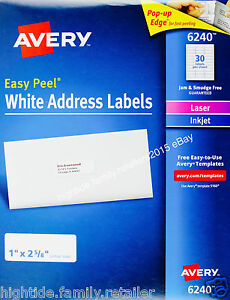Details about Avery White Address Labels 6240 Easy Peel 1 x 2 5/8 in, 1050  2100 or 4200 Count