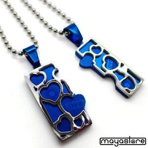 2-x-herzketten-Collana-per-COPPIA-acciaio-inox-AMICIZIA-LIEBE-argento-blu