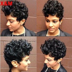 Fashion Short Curly Wavy Full Wigs For Black Women Short Pixie Cut